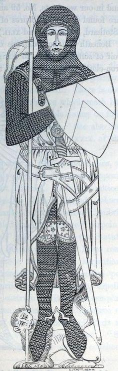 - John d'Abernon - Ginocchiello decorato e cintura intrecciata Medieval Knight, Medieval Armor, Norman Knight, Ancient Armor, Shakespeare Festival, Samurai, Medieval Times, Effigy, Knights Templar