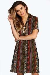 Zena Paisley Panel Shirt Dress