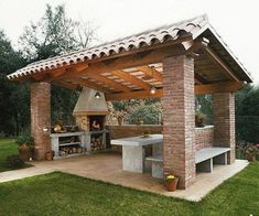 Pergola For Small Patio Info: 9995773657 Backyard Kitchen, Summer Kitchen, Outdoor Kitchen Design, Kitchen Rustic, Outdoor Kitchens, Kitchen Dinning, Bar Kitchen, Kitchen Designs, Backyard Pavilion