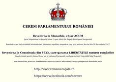Cerem Monarhie în România! https://www.facebook.com/despremonarhie