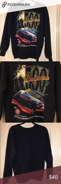 Vintage Nascar Graphic Sweatshirt Printed on a fruit of the loom sweatshirt size large. Very comfy two stains on both back elbows that are shown in photos. Sweaters Crew & Scoop Necks