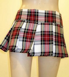Pink White Black Red Plaid Pleated Tartan Plaid by SOHOSKIRTS