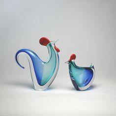 Rooster/Hen Pair Aqua/Blue