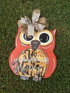 Fall Owl Door Hanger by WhimsyGirlArt on Etsy