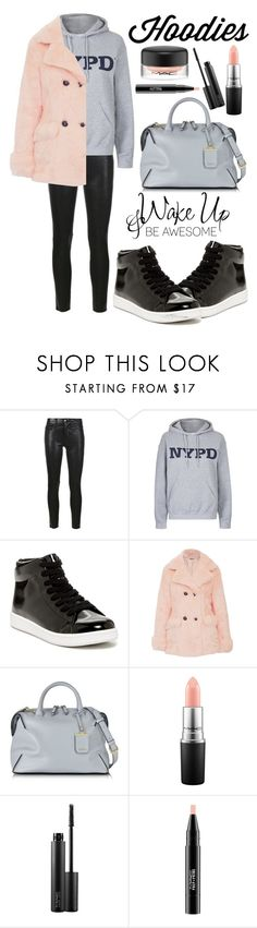 """Winter Layering: Hot Hoodies"" by alaria ❤ liked on Polyvore featuring Frame Denim, Tee and Cake, Jeffrey Campbell, Jakke, DKNY, MAC Cosmetics, women's clothing, women's fashion, women and female"
