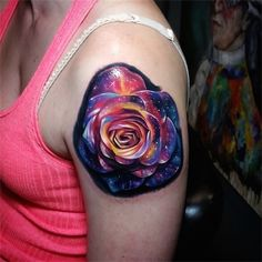 Space is flower? - Combining space and a flower are 2 of the most beautiful things into one, right? #TattooModels #tattoo