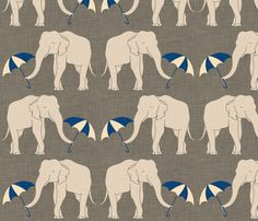 Elephant and Umbrella in Navy by Holli_Zollinger from Spoonflower #fabric #kids #navy
