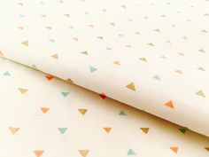 Mini Gold and Pastel Triangle Fabric - Metallic Gold, Coral and Mint Apparel Fabric for Baby Nursery and Home Decor Crafts by the Yard