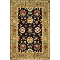 Safavieh Hand-made Anatolia Black/ Green Wool Rug (5' x 8') (AN561C-5), Size 5' x 8' (Cotton, Oriental)
