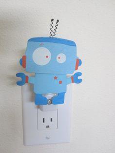 robot Night Light  Baby room nursery. $12.00, via Etsy.  For Tyler's robot bathroom?