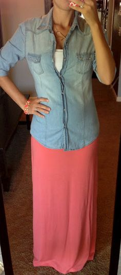 maxi skirt with denim shirt