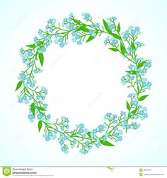 Forget Me Not Flower Drawings | drawings of a wreath of small blue flowers known as forget-me-nots ...