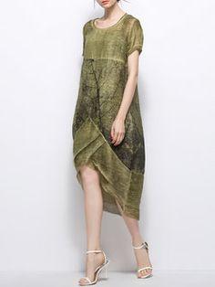 Simple Asymmetric Short Sleeve Midi Dress