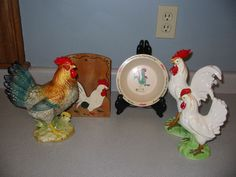 Nice collection of vintage chicken figurines, including a Lg Norcrest and a pair of white chickens made in Japan. Description from ebay.com. I searched for this on bing.com/images