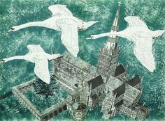Centre page spread from a Canterbury Cathedral programme by Rena Gardiner, 1966 (lithograph) Art And Illustration, Vogel Illustration, Art Illustrations, Salisbury Cathedral, City Landscape, Malu, Linocut Prints, Painting Prints, Paintings