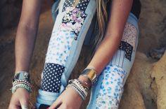 patchwork jeans.