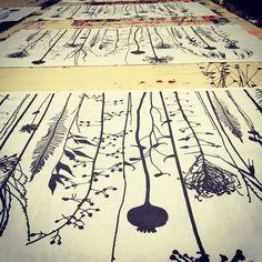 Print table of tea towels @taniacompton #textiles #handpainted #screenprinted…