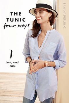 There's no wrong way to wear a tunic. Meet our 4 favorites. Pair with denim and a Panama hat, or wear it as a dress! Try a cinched and sleeveless denim tunic with shorts for an easy day-to-warm-night look. Wear it loose in linen for a lacy Boho vibe. Or be beach-ready in bold stripes.