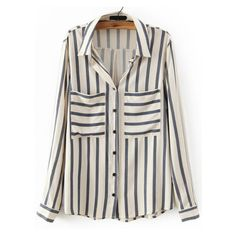 SheIn(sheinside) White Navy Vertical Stripe Pockets Blouse (72 BRL) ❤ liked on Polyvore featuring tops, blouses, white, navy striped blouse, white collared blouse, embellished tops, long sleeve tops and striped top