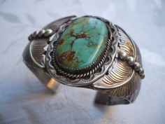 CLASSIC Old Heavy Ornate Vintage NAVAJO Sterling Silver & Turquoise Cuff BRACELET, signed SAMPSON YAZZIE.  TurquoiseKachina, $710.10