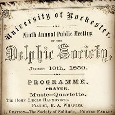 The Delphic Fraternity, founded in 1871 at SUNY Geneseo, can trace its origin back to the Delphic Society founded in 1850 at the University of Rochester. University Of Rochester, Sigma Tau, November 2, The Orator, Fraternity, Music, Musica, Musik, Muziek