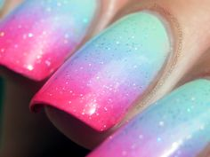 Muggle Manicures: Nail Art: Pastel Gradient with Neon Tips (mini-tutorial)
