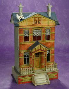 Elan Auction - June 10-11, 2017 | Petite German Wooden Blue Roof Dollhouse by Moritz Gottschalk. $800/1200