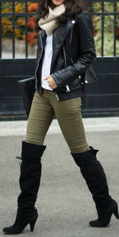 Army Green Pants + Black Boots