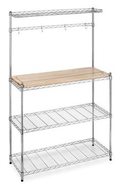 Whitmor 6054-268 Supreme Bakers Rack, Chrome and Wood by Whitmor. $79.47. No tool assembly. Durable chrome steel construction. 10-Year limited warranty. Easy assembly. Removable cutting surface. From the Manufacturer                Kitchen wire baker's rack with cutting board top. There are two shelves below cutting surface and one shelf above. Baker's rack comes with hooks for hanging utensils. Unit measures 14-Inch by 36.25-Inch by 55.25-Inch.                                  ...