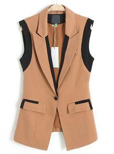 Khaki Notch Lapel Sleeveless Pockets Blazer - Sheinside.com