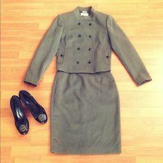 Hpcalvin Klein Olive Mandarin Collar Skirt Suit