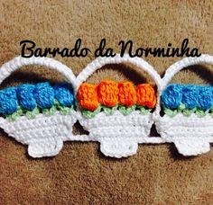Croche - Cestinhas de Tulipas Barradas...