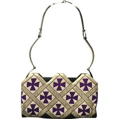 Vintage Valentino Evening Bag Metallic Fabric/Leather/Deco Pattern