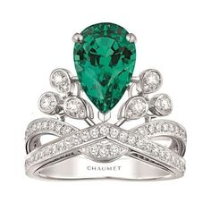 Josephine Aigrette Imperiale ring in platinum with a 2.56-carat emerald and diamonds, £POA, Chaumet