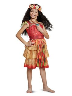 Your little warrior will love this Disney Moana Epilogue Deluxe Child's Halloween Costume. This awesome costume comes with a beautiful dress with leaf and feather details and a flower headpiece to make your child feel like a princess. Costumes For Work, Costumes For Teens, Toddler Costumes, Halloween Costumes For Girls, Couple Halloween, Halloween Ideas, Children Costumes, Diy Costumes, Spooky Halloween