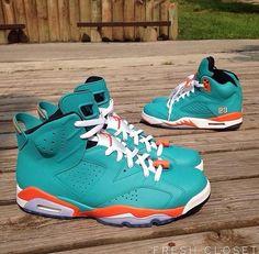 "Air Jordan 5 & 6 ""Miami Dolphins"" Customs by @fresh_closet"