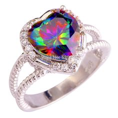 2017 New Engagement Jewelry Heart Cut Rainbow CZ Fashion  Silver Color Ring Size 6 7 8 9 10 11 12 13 Wholesale Free Shipping