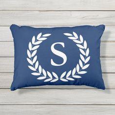 Navy Blue or Custom Color Monogram Pillow | Zazzle.com Initial Pillow, Monogram Pillows, Monogram Initials, Floor Pillows, Bed Pillows, Cushions, Navy Blue Throw Pillows, Designer Pillow, Artwork Design