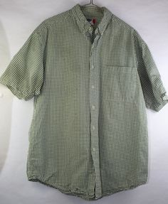 Arizona Jeans Co. Men's Medium Green Short Sleeves Plaid Button Up #Arizona #ButtonFront