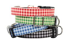 Pet gingham collars and leashes. #EcoFriendly #Accessories @Harry Barker @eco-chic design http://blog.organicspamagazine.com/eco-friendly-totes-designed-with-pets-and-people-in-mind/#