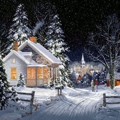 stars above - snow, sky, house, night, fence Christmas Night, Christmas Scenes, Christmas Pictures, Christmas Art, Beautiful Christmas, Vintage Christmas, Illustration Noel, Christmas Illustration, Illustrations