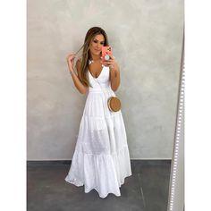 Vestido Deluxe Laise Laço Off White - Estacao Store White Dress Outfit, White Outfits, I Dress, Girl Outfits, Dress Outfits, Fashion Outfits, Womens Fashion, Off White, German Fashion