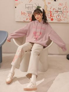 Loose Sweater, Long Sleeve Sweater, Cute Casual Outfits, Winter Outfits, Short Sleeve Collared Shirts, Bear Hoodie, Pink Pants, Kawaii Clothes, Everyday Items
