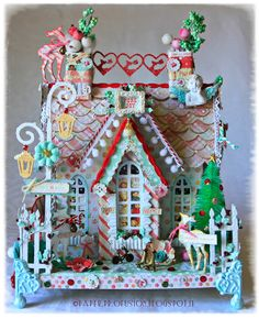 Christmas chipboard house - Prima Sweet Peppermint collection. Winner Prima PPP