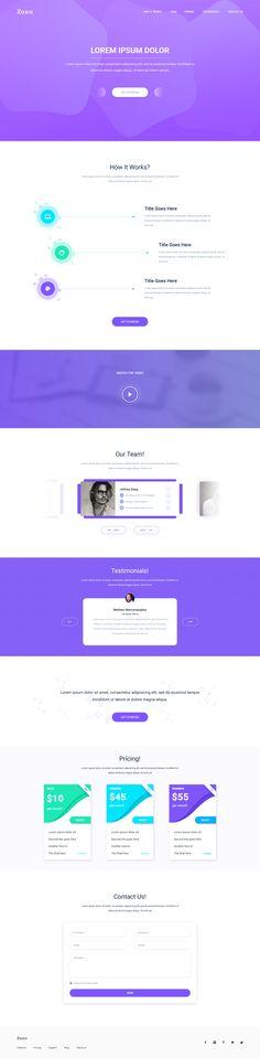 Zozo Landing Page Responsive Web Design, Web Ui Design, Site Design, Ui Website, App Landing Page, Web Layout, Layout Design, Corporate Website, Mobile Web Design