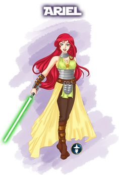 Ariel as a Jedi. I like her outfit. Of course, it's a bit far from her usual outfit, but I tried to keep the form of her seashells. The color scheme is better than her original's I think, it was weird in purple and green