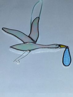 Stained glass ornament for expecting parents - Stork delivering baby