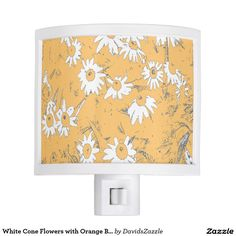 White Cone Flowers with Orange Background Night Light Available on more products, type in the name of this design in the search bar on my products page to view them all!  #daisy #calendula #shasta #cone #floral #flower #orange #blue #grey #gray #white #pattern #print #all #over #abstract #plant #nature #earth #life #style #lifestyle #chic #modern #contemporary #home #decor #accent #decorate