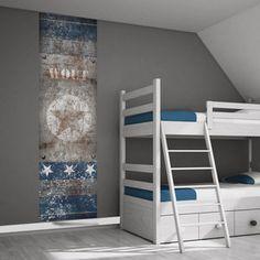 Muursticker ster roes t / blauw - Stoer jongenskamer idee Minimalism For Kids, Cool Kids Rooms, Kids Decor, Home Decor, Kidsroom, Boy Room, Bunk Beds, Kids Bedroom, Interior