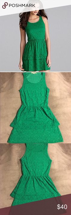 Gianni Bini Green Lace Peplum Dress Gorgeous green lace peplum dress from Gianni Bini. Worn 2-3 times - excellent condition. Great for any occasion - especially the holidays! No rips, tears, holes, or issues with the lace. Great condition and ready for your next event or wedding! Gianni Bini Dresses Mini